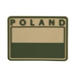 Emblemat patche flaga POLAND PVC Khaki gaszona